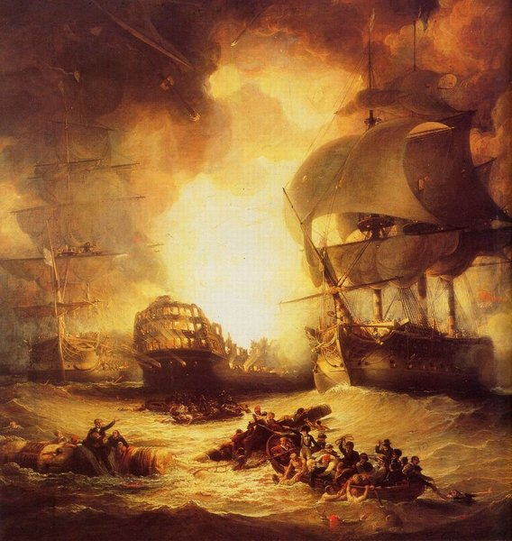 French flagship LOrient exploding at the Battle of the Nile