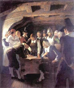Many of the Pilgrims joined the Puritans right here at the signing of the Mayflower Compact.